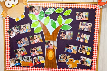 Bulletin Board Banner with Tree and surrounded by photos